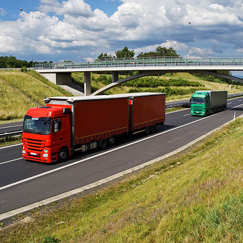 Two articulated lorries on the motorway