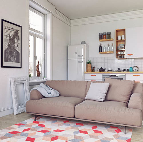 Sofa in studio apartment